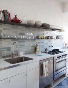 Medium Plenty, Ian Read House, Kitchen with Heath Ceramic Tiles, Blue Gray Subway Tiles| Remodelista
