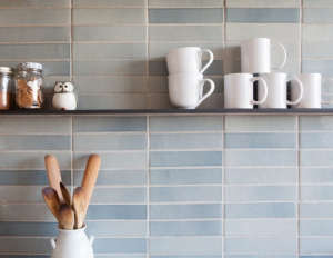 Medium Plenty, Ian Read House, Kitchen with Heath Ceramics Tiles, Blue Gray Subway Tiles| Remodelista