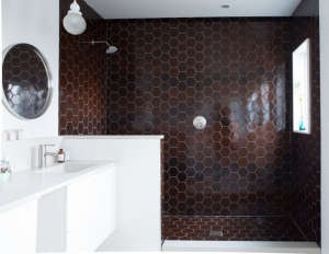 Medium Plenty, Ian Read House, Master Bath with Heath Ceramics Tiles, Black Hexagonal Tiles | Remodelista