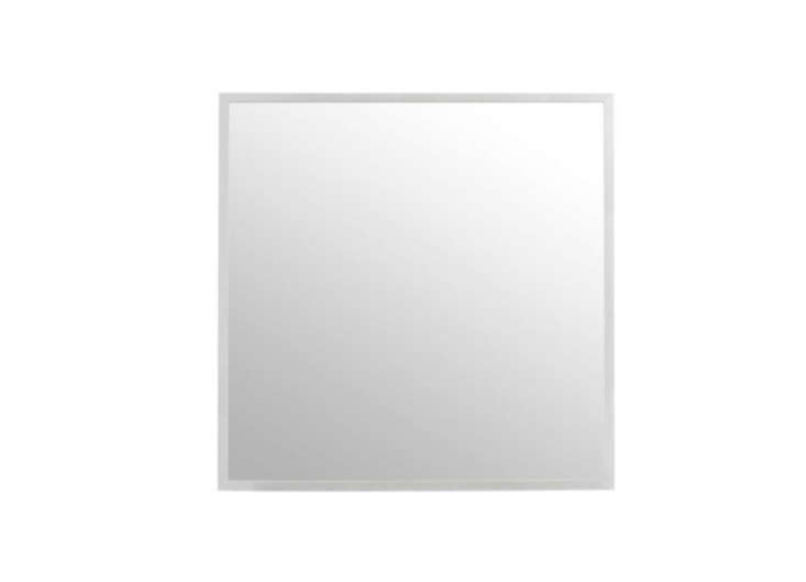 above ikea s 27 5 inch square stave mirror has a simple white frame