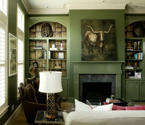 Image from Peppermint Bliss Blog with Green Living Room, Remodelista