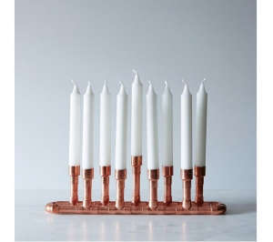 Industrial copper modern menorah