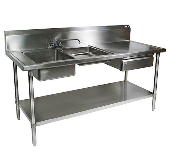 kitchen sink restaurant stainless steel prep table remodelista 2857