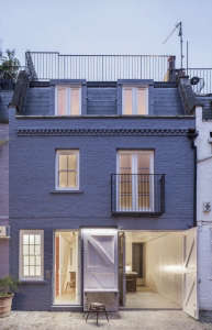 Jonathan Tuckey, Submariner's House, blue exterior mews house | Remodelista