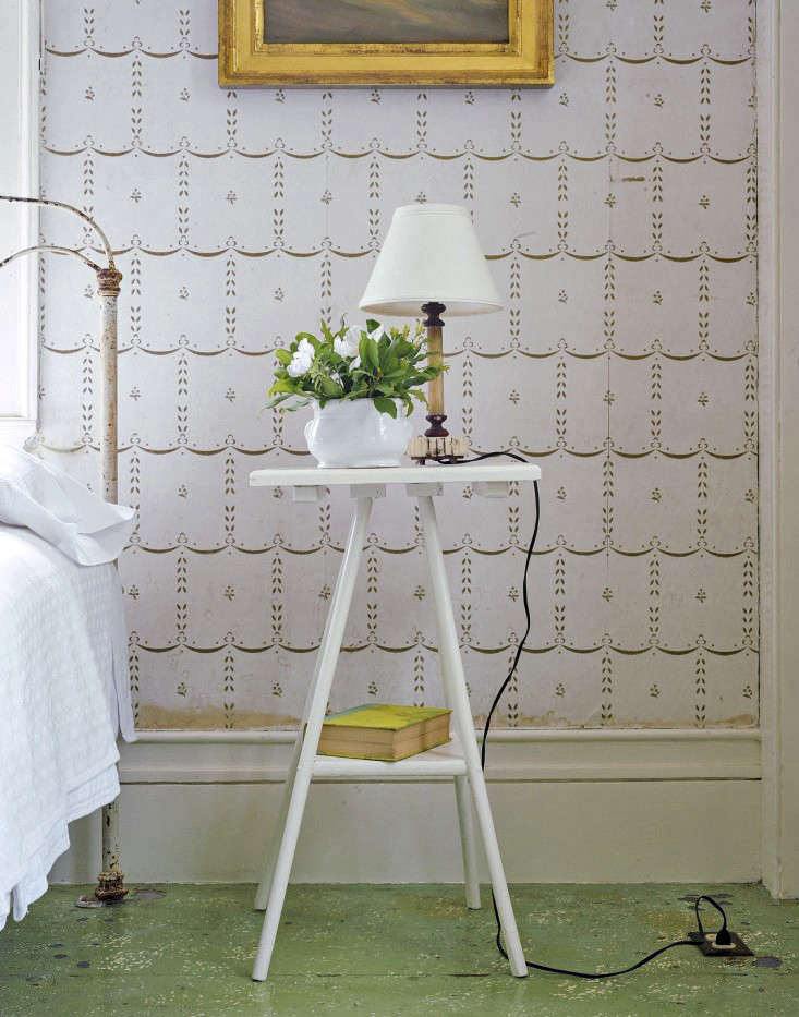 Above  One of my favorite features in the guest bedroom of my summer  cottage is the antique cream and gold wallpaper  Photograph by Matthew  Williams for. Domestic Science  How to Remove Water Stains from Wallpaper
