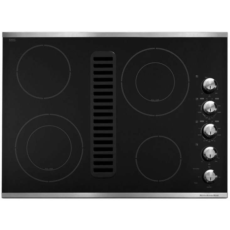 kitchenaid downdraft vent glass electric cooktop double ring elements