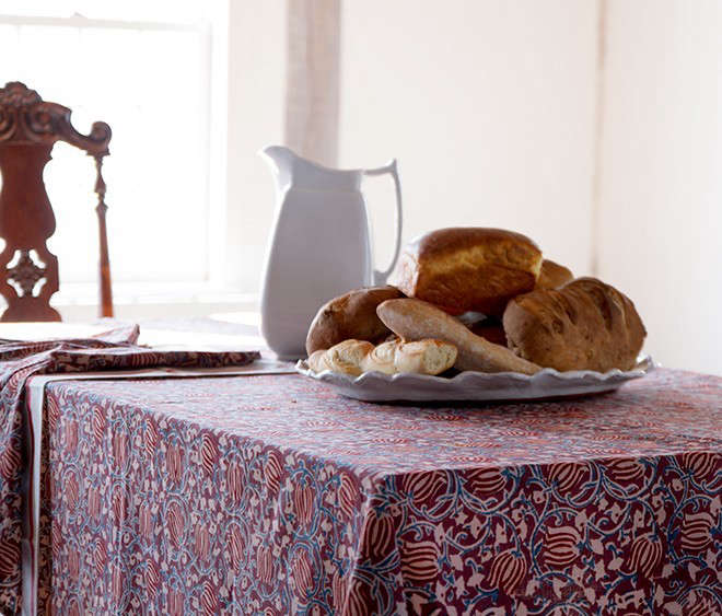 Les-Indiennes-Traditional-Kalamkari-Bianca-Tablecloth-Remodelista