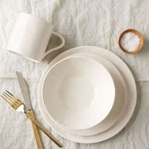 Linen Textured Dinnerware from West Elm, Remodelista