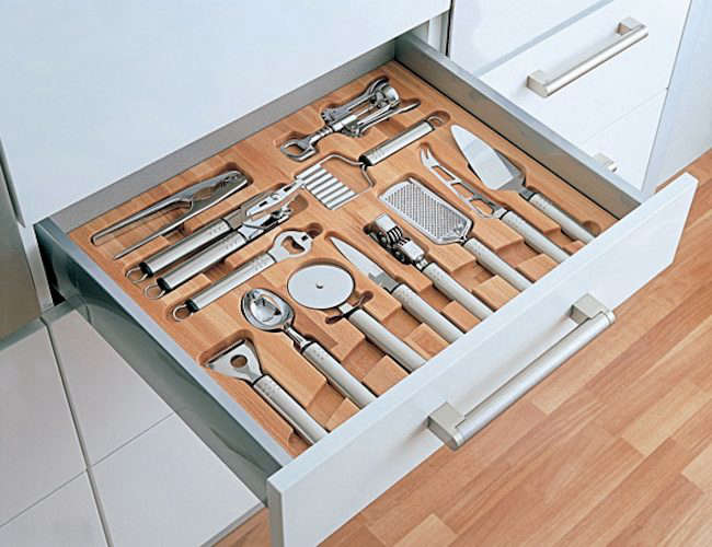 Mise en place kitchen tool drawer organizers remodelista for Kitchen drawer organizer