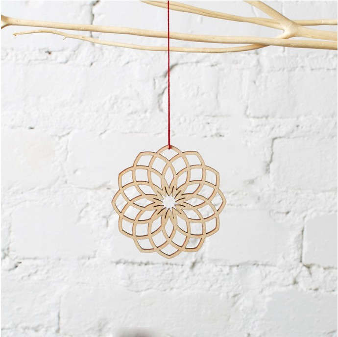 Makeatx laser cut dahlia ornament at Brit and Co, Remodelista