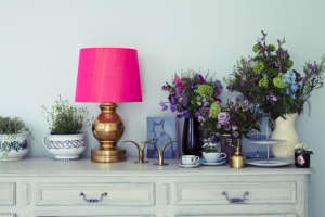 London Victorian House, Magenta lampshade | Remodelista