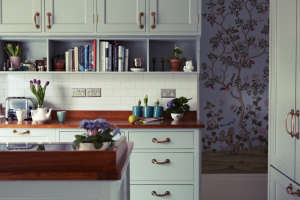 London Victorian House Kitchen, Cherry Countertops, Fromental Chinoiserie Wallpaper | Remodelista