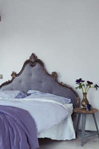London Victorian House, Farrow & Ball Great White, Purple Velvet Headboard | Remodelista