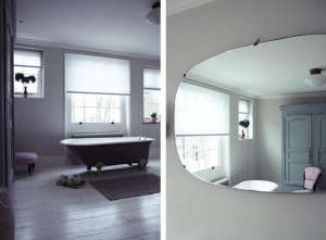 London Victorian House, bathroom, vintage Italian mirror, Farrow & Ball Skimming Stone   Remodelista