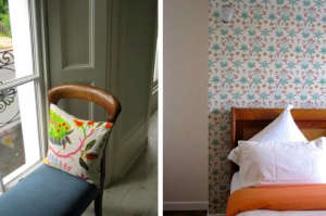 London Victorian House, Floral flouro embroidered cushion, Orange bedspread | Remodelista