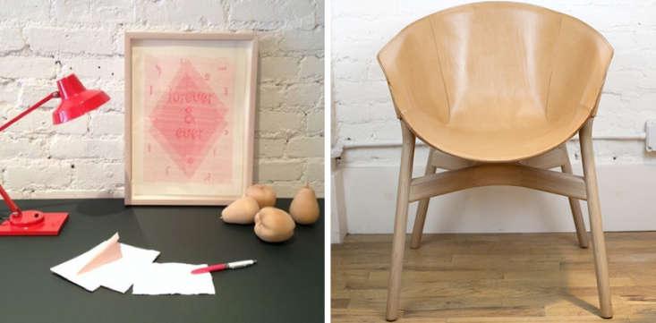 McNally-Jackson-Store-pink-desk-Discipline-Pocket-Chair-Remodelista