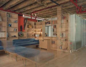 Mesh Architecture, Mott Street Loft, blue sofa, New York | Remodelista