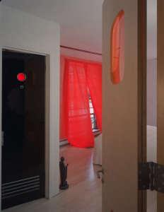 Mesh Architecture, Mott Street Loft sheer red curtains, New York | Remodelista