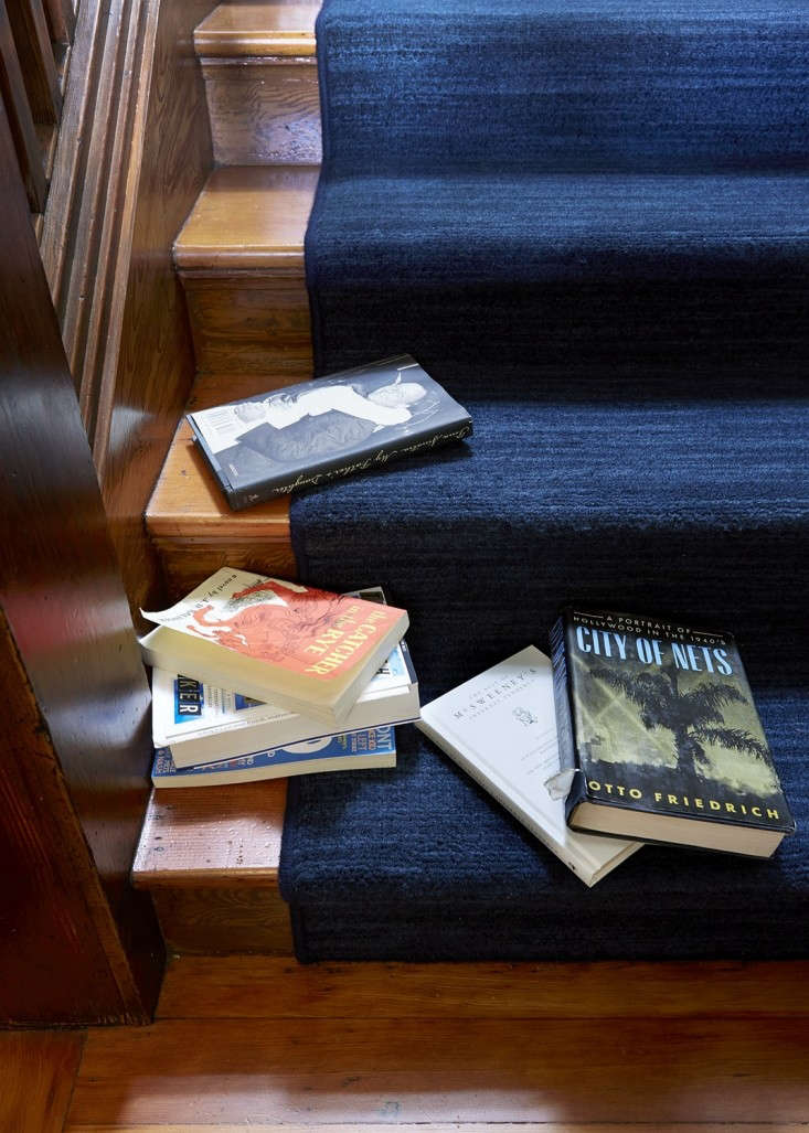 """A close-up of a """"waterfall"""" installation with bound edges in the home of Michael Chabon and Ayelet Waldman; for more go toThe Mysteries of Berkeley: A Literary Couple at Home."""