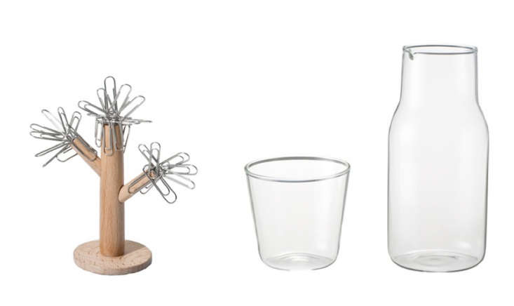Muji-Magnetic-Paperclip-Holder and Muji-Carafe-Set-Remodelista