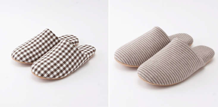 Muji-cotton-checked-and-striped-slippers-Remodelista