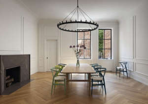 O'neill rose West Side Townhouse, dining room with colored chairs | Remodelista
