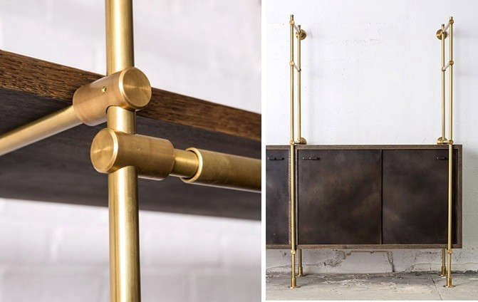 Oak-and-Brass-shelving-system-from-amuneal-Remodelista