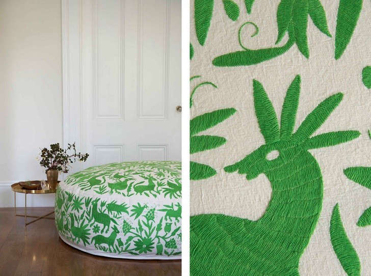 Olli-hand-embroidered-lounger-kelly-green-Remodelista
