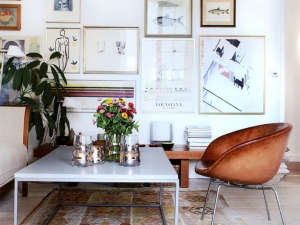 Wall of framed art | Remodelista