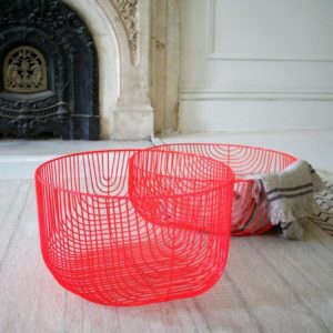 Neon Red Wire Storage Baskets from A+R Store in LA | Remodelista