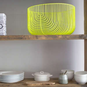 Neon Yellow Wire Storage Baskets from A+R Store in LA | Remodelista