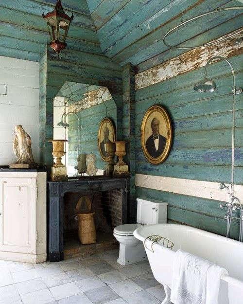 Portraits-as-Decor-green-reclaimed-wood-bathroom-walls-Remodelista