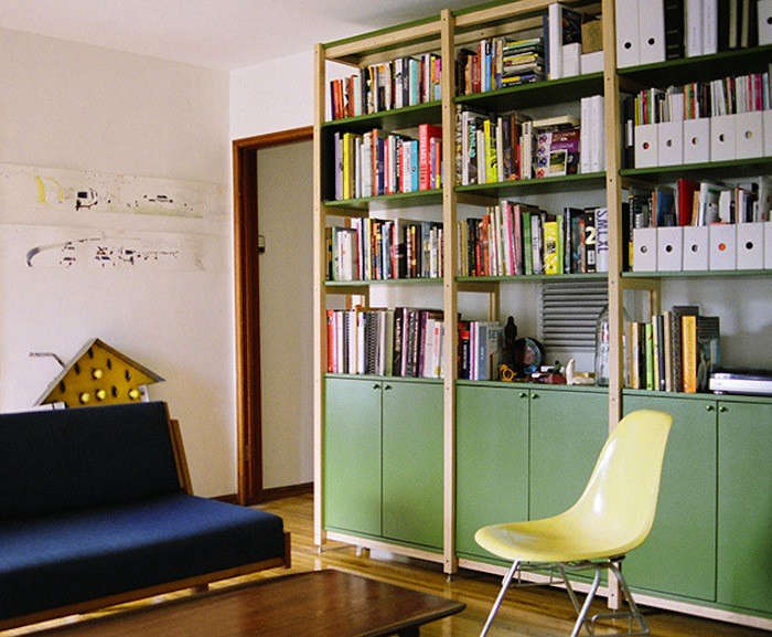 High Low Wooden Bookcase With Cabinets Remodelista