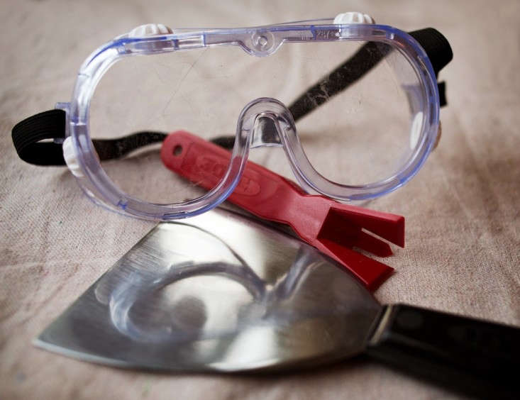 Safety Goggles, Putty Knife, Caulk Remover Tool, Remodelista