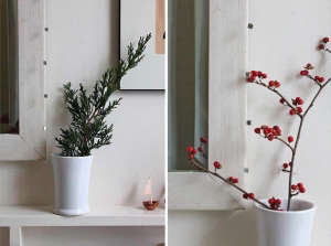 Simplest Holiday Arrangements, Leaves and Berries in Vases, Design Skool, Remodelista