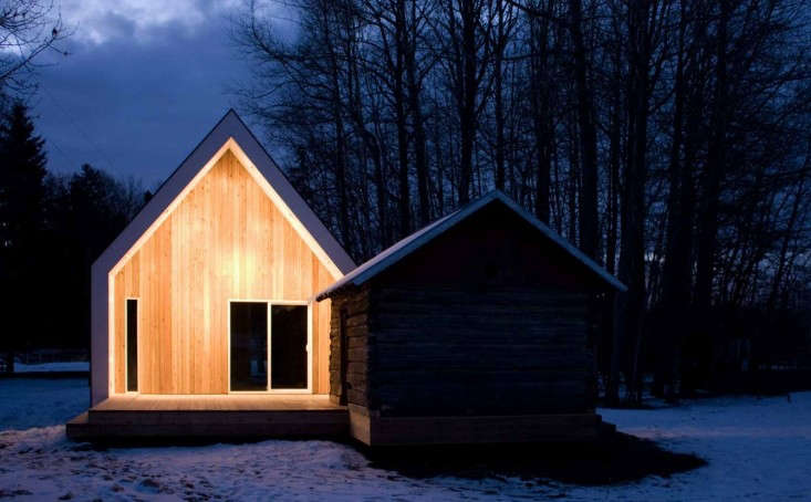 Small Cabin Modern Farmhouse in Snow at Night, Remodelista