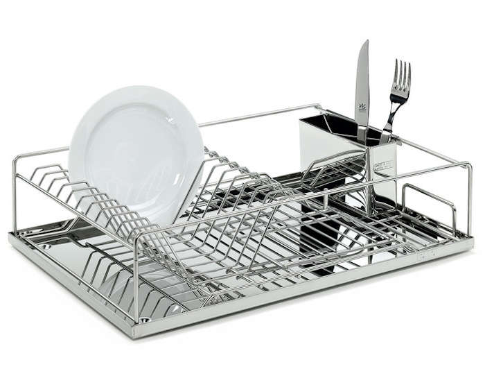 Stainless steel dish rack with drainer tray