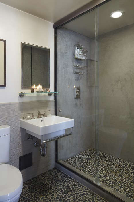 Studio Geiger 5 White Bathroom with Gray Tile Wainscot and Concrete Finish in Shower, Remodelista