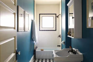 Teal Blue Bathroom with Black and White Tile by SIMO Design, Remodelista