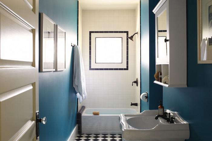 Above A pitch perfect combination of teal black and off white from SIMO  Design in LA. Teal And White Bathrooms