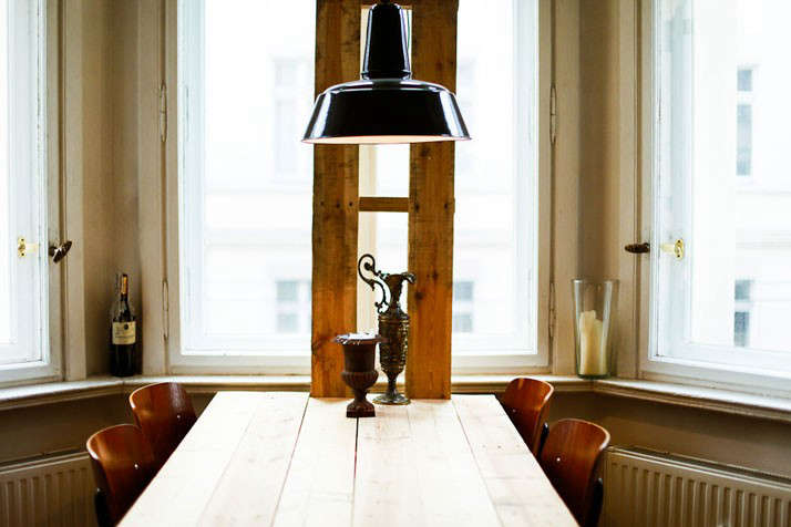 The Parlour Dinners Unset Table with Black Pendant Light