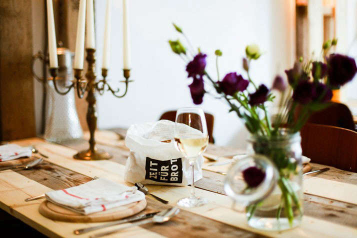 The Parlour Dinners with Glass Jar of Flowers