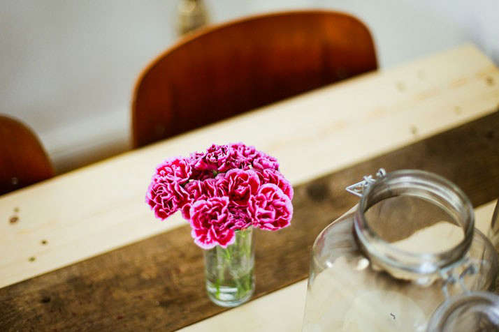The Parlour Dinners with Pink Flowers in Glass Vase