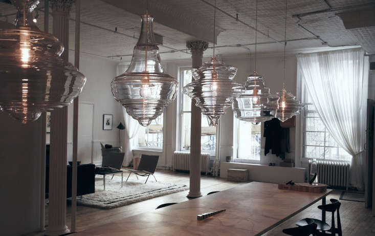 The-Line-The Apartment-Lasvit-glass-chandeliers-via-Remodelista