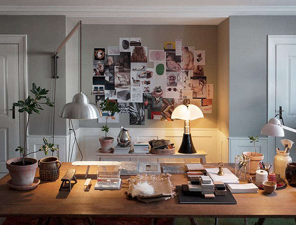 Design legend Ilse Crawford's temporary office in Copenhagen featured a mood board, of course, a necessity for creatives everywhere. Photograph by Casper Sejersen for the Apartment, from Mastering Warm Minimalism: Ilse Crawford in Copenhagen.
