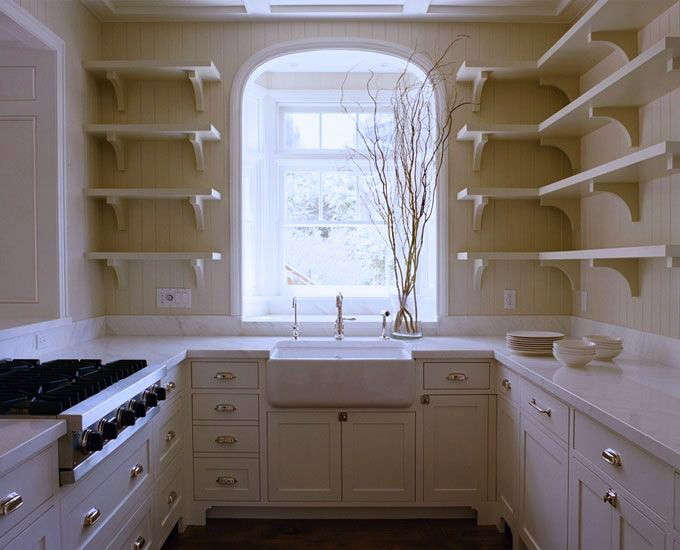 U-Shaped-Kitchen-with-Arched-Window-Remodelista