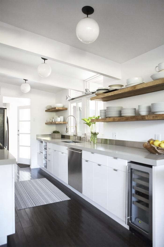 Urban-Galley-Kitchen-Eichler-House-Reclaimed-Wood-Floating-Shelves-Remodelista