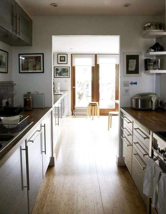 Urban-Galley-Kitchen-Gray-Cabinets-Bamboo-Floors-Remodelista