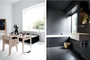 Villa Weinberg, Aarhus, Denmark, black and white children's room, bathroom lined in black tiles | Remodelista