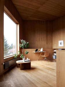 Villa Weinberg, Aarhus, Denmark, wood lined library, wood floors, wood ceilings | Remodelista